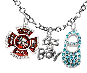 "Firefighter Wife's, ""It's A Boy"", Necklace, Hypoallergenic, Safe - Nickel & Lead Free"