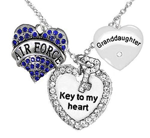 "Air Force Granddaughter"", ""Key to My Heart"", Crystal ""Granddaughter"" Heart Necklace"