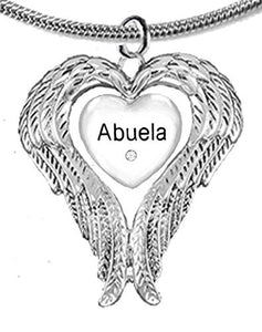 "Guardian Angel, Heart (Love) Shaped Wings, ""Abuela"" Crystal Necklace, Adjustable, Nickel & Lead Free"