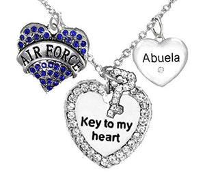 "Air Force, Key to My Heart, Crystal ""Abuela, Heart Necklace, Hypoallergenic - Nickel & Lead Free"