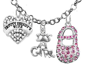 "Deputy Sheriff's Wife's, ""It's A Girl"", Necklace, Hypoallergenic, Safe - Nickel & Lead Free"