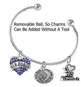 "Air Force ""I Love You to The Moon & Back"", I Love My Airman, Adjustable, Removable Ball Bracelet"
