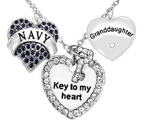 "Navy Granddaughter"", ""Key to My Heart"", ""Crystal Granddaughter"" Heart Charm Necklace, Safe"