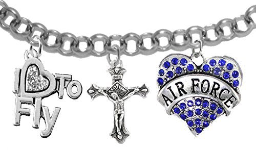 "air force, ""i love to fly"", genuine crystal, crucifix, adjustable bracelet - nickel & lead free"