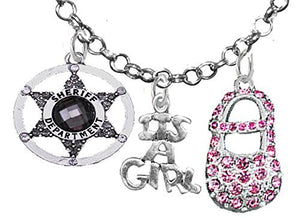 "Sheriff's Wife's, ""It's A Girl"", Necklace, Hypoallergenic, Safe - Nickel & Lead Free"