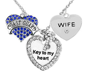 "Coast Guard Wife, ""Key to My Heart"", ""Crystal Wife"" Heart Charm Necklace, Adjustable, Safe"