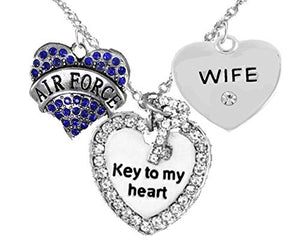 "Air Force Wife, ""Key to My Heart"", Crystal ""Wife"" Heart Necklace, Safe - Nickel & Lead Free"