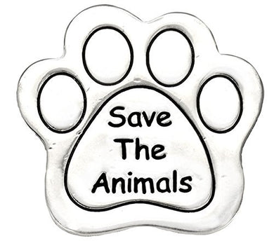 Save The Animals Pin, (Package Of 12, $9.38 Each) Real Jewelry, Not Plastic or Paper - Safe