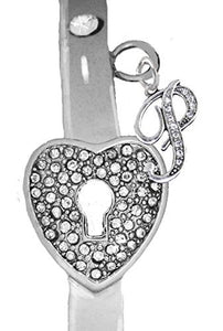"It Really Locks! The Key to My Heart, ""Initial P"", Cuff Crystal Bracelet - Safe, Nickel & Lead Free"
