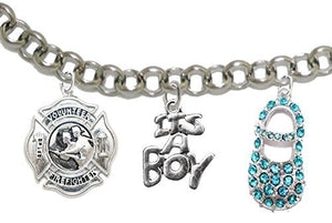 "Volunteer Firefighter's, Wife's, ""It's A Boy"", Bracelet, Safe - Nickel & Lead Free"