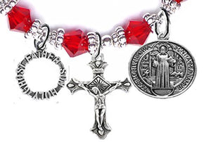 "Saint Benedict Prayer, Protect Me, Crucifix, ""Father, Son, Holy Ghost"" Charms Red Crystal Bracelet"