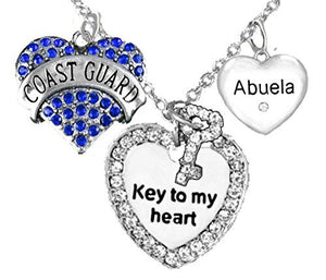 "Coast Guard Abuela, ""Key to My Heart"", ""Crystal Abuela"" Heart Charm Necklace, Adjustable, Safe"