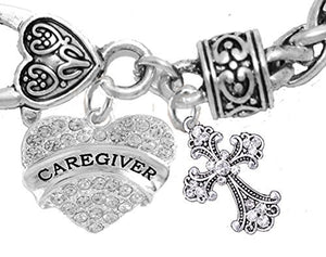 Caregiver, Nurse, RN, LPN, Genuine Crystal Cross, Bracelet, Hypoallergenic Safe - Nickel & Lead Free