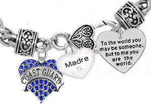 "Coast Guard Madre, ""To the World You May Be Someone"" Charm Bracelet, Crystal Heart Madre, Safe"