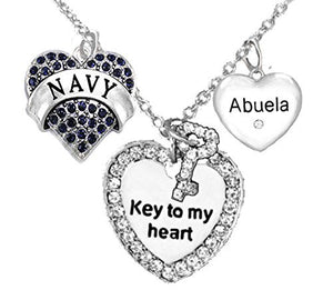 "Navy Abuela, ""Key to My Heart"", ""Crystal Abuela"" Heart Charm Necklace, Safe - Nickel & Lead Free"