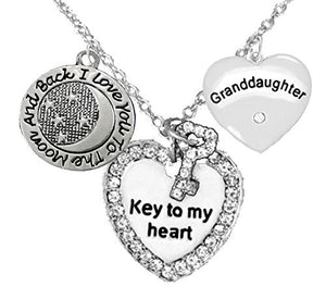 "Granddaughter"", ""I Love You to The Moon & Back"" Adjustable Necklace, Safe - Nickel & Lead Free"