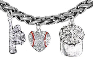 Baseball Heart, Genuine Crystal. Bat, Caps Bracelet, Hypoallergenic, Safe - Nickel & Lead, Free