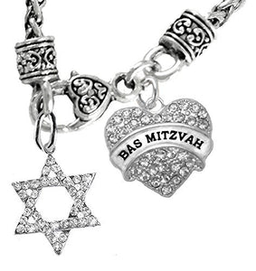 "Jewish ""Bas Mitzvah"", Beautiful Crystal Heart, Star of David On Wheat Chain Necklace, Safe"