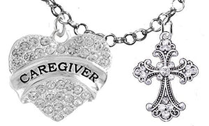 Caregiver, RN, Nurse, Genuine Crystal Cross, Adjustable Charm Necklace, Safe - Nickel & Lead Free