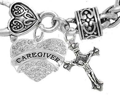 Caregiver, Nurse, RN, LPN, Crucifix Cross, Bracelet, Hypoallergenic, Safe - Nickel & Lead Free