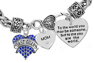 "Coast Guard ""Mom"", ""To the World You May Be Someone"" Charm Bracelet, Crystal Heart ""Mom"", Safe"