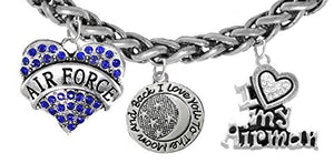 "Air Force ""I Love You to The Moon & Back"", I Love My Airman, Adjustable Bracelet, Nickel & Lead Free"