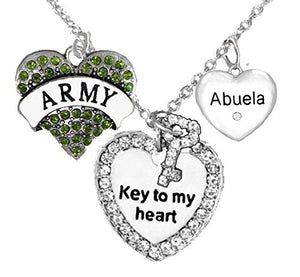 "Army Abuela Genuine Crystal ""Key to My Heart"" & Crystal Abuela Heart, Adjustable, Safe - Nickel Free"