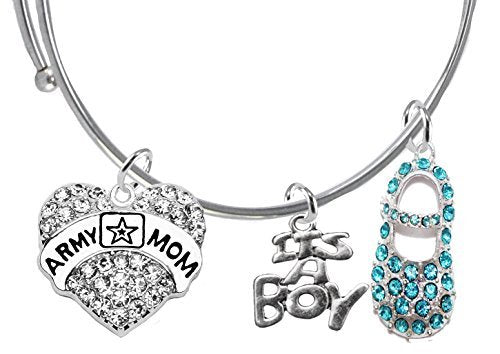 "army mom's baby shower gifts, ""it €™s a boy"", adjustable bracelet, safe - nickel & lead free"