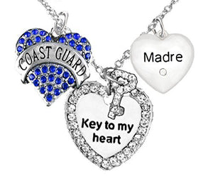 "Coast Guard Madre, ""Key to My Heart"", ""Crystal Madre"" Heart Charm Necklace, Adjustable, Safe"