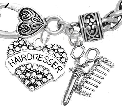 Hair Dresser Crystal Heart, Comb & Scissors Bracelet, Safe - Nickel & Lead Free