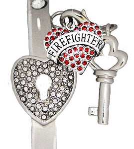 "Firefighter, ""The Key to My Heart"" Cuff Crystal Bracelet, ""It Really Locks!"" Safe Nickel & Lead Free"