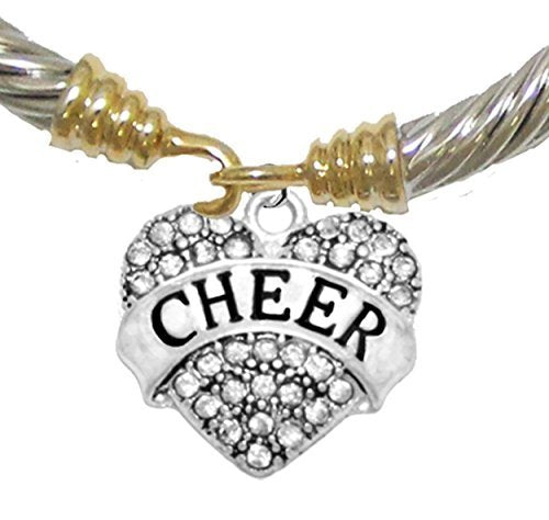 Cheer Crystal Heart, Two Tone, Gold / Silver Cheerleader Bracelet, Nickel & Lead Free