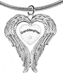 "Guardian Angel, Heart (Love) Shaped Wings, ""Granddaughter"" Crystal Necklace - Nickel & Lead Free"