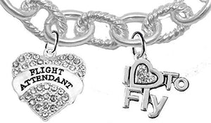 "Flight Attendant, ""I Love to Fly"", Genuine Crystal, Cable Chain Charm Bracelet, Nickel & Lead Free"