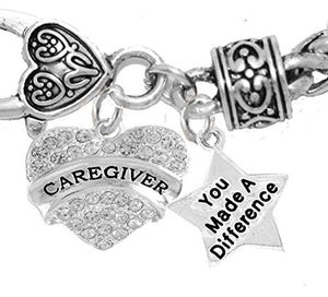 Caregiver, Nurse, RN, LPN, You Made a Difference, Bracelet, Hypoallergenic Safe - Nickel & Lead Free