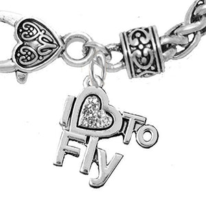 I Love to Fly, Hypoallergenic Genuine Crystal, Wheat Chain Charm Bracelet, Nickel & Lead Free