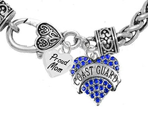 "Coast Guard Proud ""Mom"", Heart Charm Bracelet, Hypoallergenic, Safe - Nickel & Lead Free"
