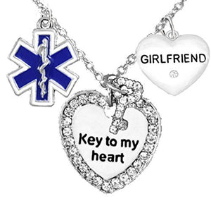 "EMT, Girlfriend Adjustable ""Key to My Heart"" Necklace, Safe - Nickel & Lead Free"