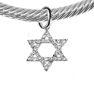 Jewish Crystal Star of David On a Silver Cable Adjustable Cuff Bracelet, Safe - Nickel & Lead Free