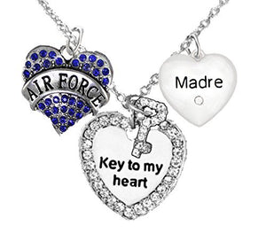 "Air Force Madre, ""Key to My Heart"", Crystal ""Madre"" Heart Necklace, Safe - Nickel & Lead Free"
