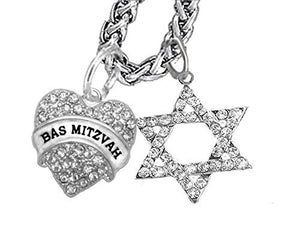 "Jewish ""Bas Mitzvah"" Crystal Heart, And A Crystal Star of David, Wheat Chain Necklace, Safe"