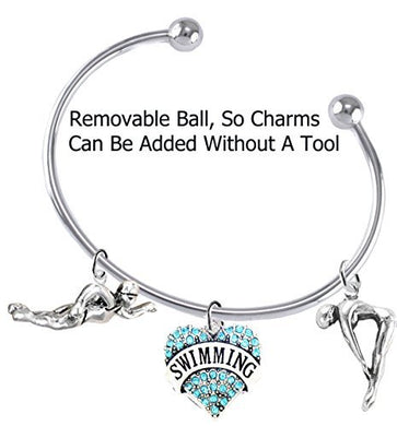 I Love Swimming 3 Charm Adjustable Bracelet - Safe, Nickel, Lead & Cadmium Free