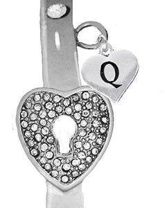 "It Really Locks! The Key to My Heart, ""Initial Q"", Cuff Crystal Bracelet - Safe, Nickel & Lead Free"
