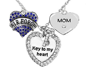 "Air Force ""Mom"", ""Key to My Heart"", Crystal ""Mom"" Heart Necklace, Safe - Nickel & Lead Free"