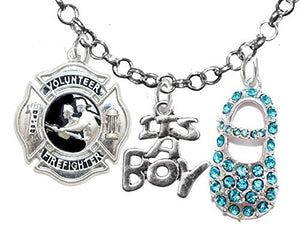 "Volunteer Firefighter's Wife's, ""It's A Boy"", Necklace, Safe - Nickel & Lead Free"