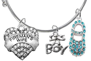 "Fireman's Wife's Baby Shower Gifts, ""It's A Boy"", Adjustable Bracelet, Safe - Nickel & Lead Free"