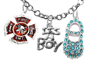 "EMT Firefighter, ""It's A Boy"", Necklace, Hypoallergenic, Safe - Nickel & Lead Free"