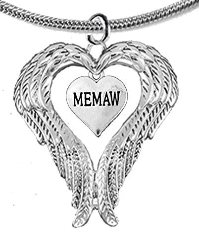Guardian Angel, Heart (Love) Shaped Wings for Memaw Necklace, Adjustable - Safe, Nickel & Lead Free