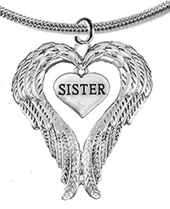 Guardian Angel, Heart (Love) Shaped Wings for Sister Necklace, Adjustable - Safe, Nickel & Lead Free