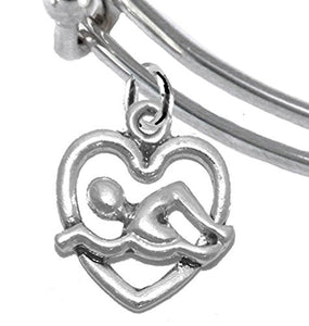 I Love Swimming Adjustable Charm Bracelet - Safe, Nickel, Lead & Cadmium Free